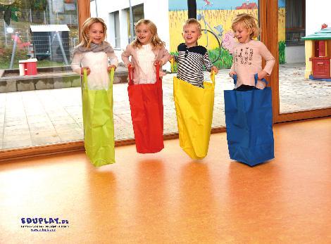 Hüpfsack, 4er Set Um die Wette Sackhüpfen - Kisus - Kinder, Spiel und Spaß