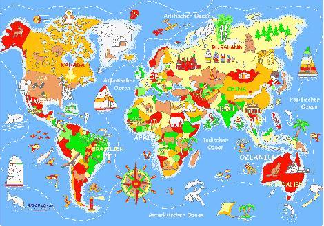 Spielteppich Welt 140 x 200 cm - Kisus e.K. - Kinder, SPiel und Spaß - Teppich Kindergarten