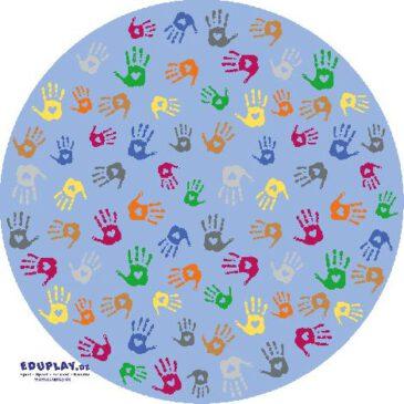 Teppich Hände Rund 200 cm Rote, grüne, gelbe Hände - Kisus e.K. - Kinder, Spiel und Spaß - kindergarten, krippe, kindergartenversand, kita, krippenausstattung