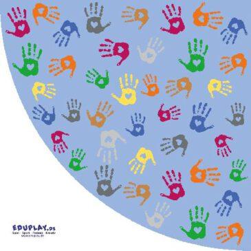 Teppich Hände Ecke 150 cm Rote, grüne, gelbe Hände - Kisus e.K. - Kinder, Spiel und Spaß - kindergartenausstattung