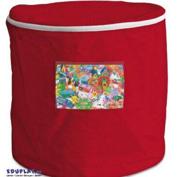 Tonne rot Decken, Kissen, Bausteine - Kisus e.K. - Kinder, Spiel und Spaß - Aufräumen und Ordnung