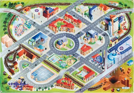 Strassenteppich Outdoor 200 x 140 cm Flugplatz, Tankstelle, Eisenbahnlinie - Kisus e.K. - Kinder, Spiel und Spaß - großhandel kindergärten