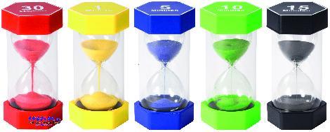Mega Sanduhren-Set 30 sek, 1, 5, 10, 15 min Zeit visualisieren - Kisus e.K. - Kinder, Spiel und Spaß
