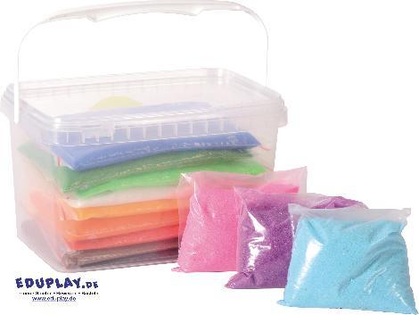 Dekosand 12 Farben 2,4 kg Fantasievolles Sandmalen - Kisus e.K. - Kinder, Spiel und Spaß - Kindergarten, kreativ
