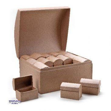 Karton-Schatztruhe 30 in 1 Set 30 Mini-Schatztruhen ... und eine große zum Bemalen und Bekleben - Kisus e.K. - Kinder, Spiel und Spaß - großhandel bastelbedarf für kitas
