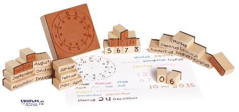 Holzstempel Kalender Uhrzeit, Datum, Wochentage und Monate - Kisus e.K. - Kinder, Spiel und Spaß - großhandel für spielwaren, edukativ