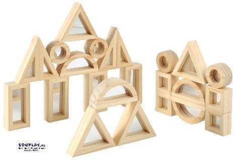 Spiegelblocks 24-teilig Spiegelnd oder transluzent ... Diese besonderen Blocks sind für sich oder als Ergänzung zu normalen Bausteinen ein echter Hingucker