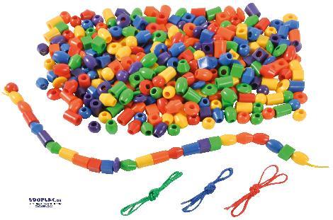 Fädelperlen bunt gemischt Beim Halsketteln fädeln ... schulen die Kinder ganz einfach nebenbei die Auge-Hand-Koordination.