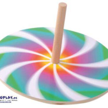 Spielkreisel mit 10 Scheiben Faszinierende Muster ... entstehen beim Drehen des Kreisels und dieser sieht dank der verschiedenen Motivscheiben aus Karton immer wieder neu aus.