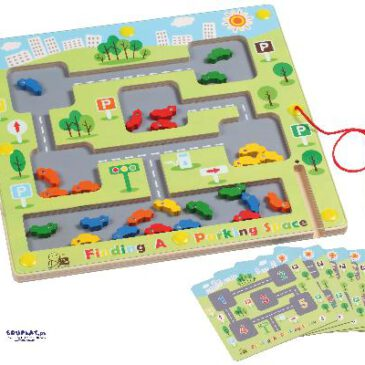 Finde einen Parkplatz 25 bunte Autos ... wollen mit etwas Geschick durch die schmalen Gassen gefahren werden, um den gleichfarbigen Parkplatz zu erreichen. - Kisus e.K. - Kinder, Spiel und Spaß - kindergarten, kita, vorschule