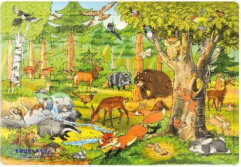 Puzzle Wald Scheue Wildtiere friedlich beisammen - Kisus e.K. - Kinder, Spiel und Spaß