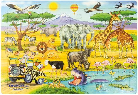 Puzzle Safari Auf Safari in Afrika ... Elefanten, Giraffen, Löwen, Zebras, Büffel - Kisus e.K. - Kinder, Spiel und Spaß