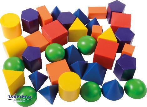 Geoformen farbig 36 Stück Pyramiden, Quader, Säulen ... zum Bauen, spielen und Kennenlernen der geometrischen Körper. Kisus e.K. - Kinder, Spiel und Spaß - Kindergarte, KITA, Vorschule, Schule