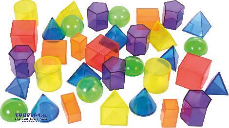 Geoformen transparent 36 Stück Pyramiden, Quader, Säulen ... zum Bauen, spielen und Kennenlernen der geometrischen Körper.