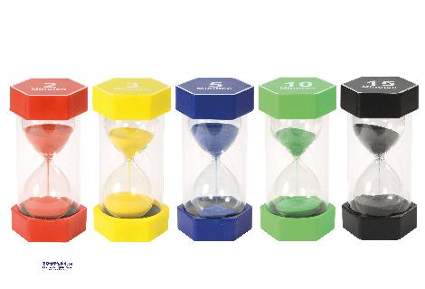 Riesen Sanduhren-Set 2, 3, 5, 10, 15 min - Zeit visualisieren ... Darf ich noch fünf Minuten fernsehen? Die Sanduhren zeigen, wie z. B. fünf Minuten Zeit verrinnen. Kinder entwickeln ein Gefühl für die Zeit und lernen, sie einzuteilen: 3 Minuten Zähne putzen, 10 Minuten Lesen üben, 15 Minuten Spielen. - Kisus e.K. - Kinder, Spiel und Spaß - Kindergartenausstattung KITA KIGA