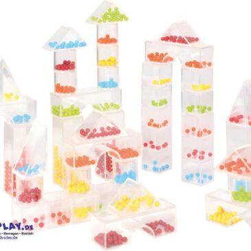 Perlenblocks 50-tlg. Zum Sortieren, Bauen, Zählen ... Die mit unterschiedlich vielen, bunten Kugeln gefüllten Bausteine können zum Spielen und Lernen eingesetzt werden
