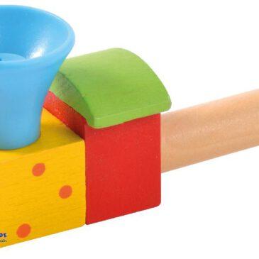 Blasespiel bunt Die Mundmotorik fördern ... Bei leichtem Pusten in die farbenfrohe Lokomotive dreht sich der Ball auf dem Luftstrom, bei stärkerem Pusten schwebt er über dem Schlot, das fördert spielerisch die Mundmotorik und das Sprechen. - Kisus e.K. - Kinder, Spiel und Spaß