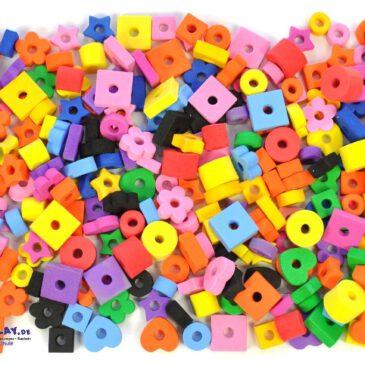 Moosgummiperlen Für Ketten, Arm- und Fußbändchen ... mit Herzen, Sternchen, Blumen und vielen Formen. - Kisus e..K. - Kinder, Spiel und Spaß - kindergarten, bastelbedarf, großhandel