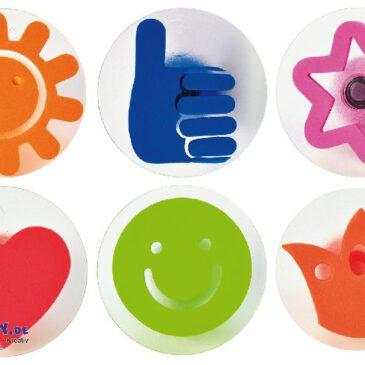 Icon Stempel 6er Set Du warst toll! ... Daumen hoch! Ich hab dich lieb, du bist mein Sonnenschein fröhliche Stempel für kreative Kinder.