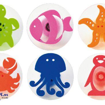 Ozeanstempel 6er Set Diese Tiere können alle schwimmen ... Stempelbild-Idee: Lebensraum Meer - welches der Tiere lebt auf der Südhalbkugel? Welche lieben warmes Gewässer?