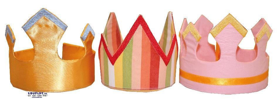 Krönchen 3er Set Heute bin ich der König ... Die Krönchen aus Stoff zaubern Kindern am Geburtstag oder beim Rollenspiel ein Lächeln ins Gesicht und zeigen anderen, wer die Hauptperson ist.