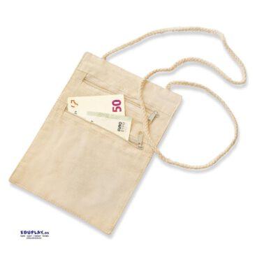Baumwoll-Umhängegeldbeutel Brusttasche mit zwei Fächern ... Unter der Kleidung sind die wichtigen Utensilien wie der Haustürschlüssel oder Geld sicher und unsichtbar für Dritte aufbewahrt.