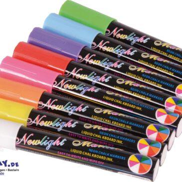 Flüssigkreide Stifte 8er Set Leuchtende Farben - leicht entfernbar ... Ganz ohne Kraftaufwand schreibt es sich mit diesen Flüssigkreide Stiften auf Tafeln, Fensterscheiben, Spiegeln, Metall und Keramik.