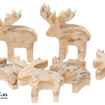 Naturholzscheiben Elch, 6er Natürliche Weihnachtsdeko ... Elche, Sterne, Tannen und Herzen aus Naturholz eignen sich perfekt für die Dekoration von Adventskranz, weihnachtlichem Blumenschmuck oder als Streudeko auf dem Tisch. Die Naturoptik verbreitet dabei einen ganz besonderen Charme.