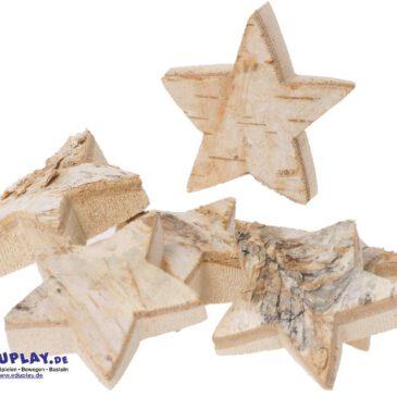 Naturholzscheiben Stern, 6er Natürliche Weihnachtsdeko