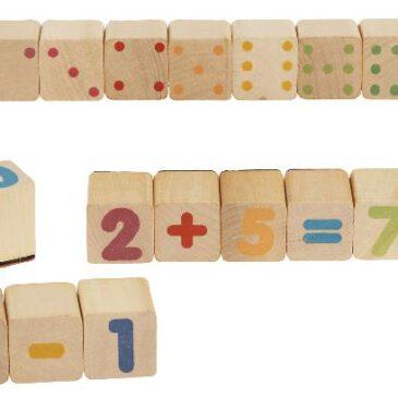 Holzstempel Mathe Zahlenmengen leichter verstehen ... Die Augen und die Ziffern auf den Stempeln haben bei gleicher Wertigkeit die selbe Farbe. Das Nachzählen der Augen hilft Kinder, Zahlenmengen und Schreibweisen besser nachzuvollziehen und somit leichter zu verstehen.