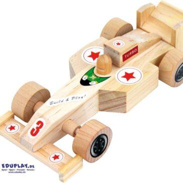 Rennauto Bastelset 1 Stück Doppelt Spaß: erst bauen, dann spielen ... So einfach baut man einen sportlichen Flitzer: Achse durch Fahrwerk schieben, Räder aufstecken, Spoiler und Fahrer aufkleben, fertig. Die Räder sind natürlich beweglich.