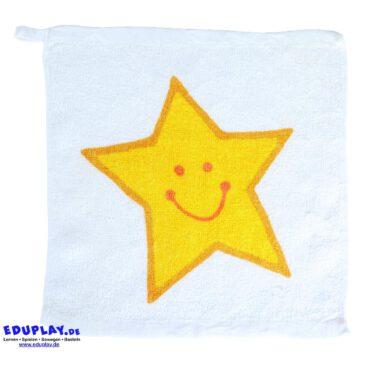 Handtuch 30 x 30 cm Flauschige Überraschung ... Aus einem kleinen, gepressten Päckchen (4,8 x 4,8 x 1,7 cm) entfaltet sich im Wasserbad ein hübsches Handtuch mit lachendem Sternmotiv. Waschbar bei 60 Grad. Material: 100% Baumwolle - Kisus e.K. - Kinder, Spiel und Spaß - Kindergarten ausstattung hygiene